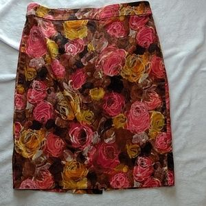 J. Crew stretch floral pencil skirt